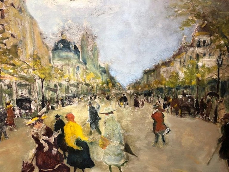 """Antal Berkes (1874–1938)   He was a Hungarian painter, born in Budapest, Hungary. He lived in Paris for some time and produced cityscapes there as well as similar street scenes of Budapest and Vienna.  """"Paris Street Scene"""" c. 1910s  Oil on canvas,"""