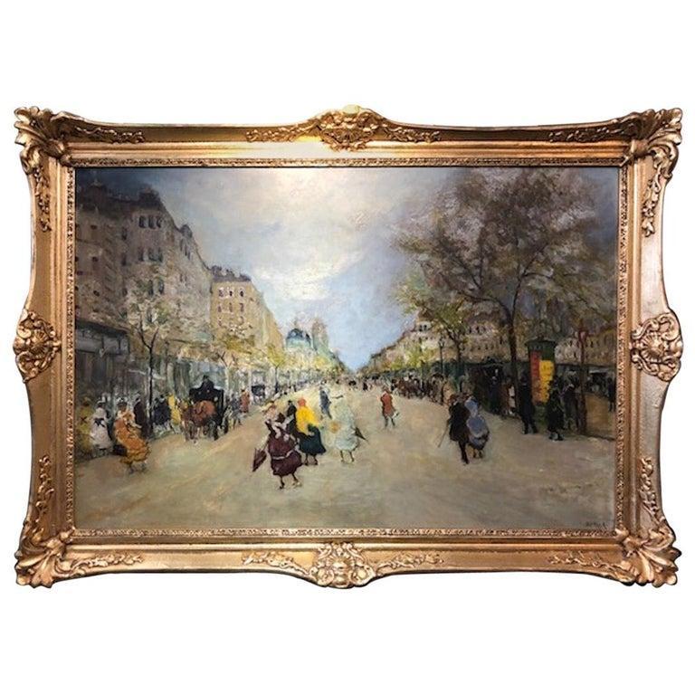 Antal Berkes Landscape Painting - Paris Street Scene