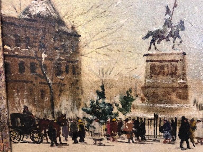 Winter Paris - Brown Landscape Painting by Antal Berkes