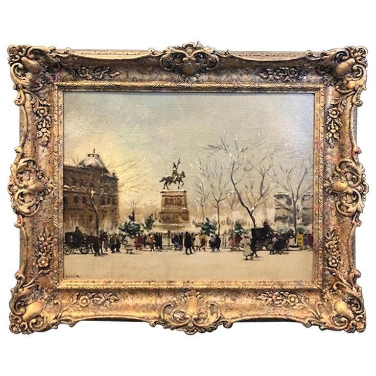 Antal Berkes Landscape Painting - Winter Paris