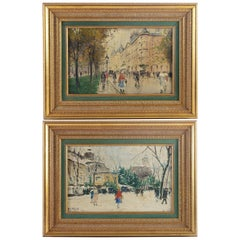 Antal Berkes Pair of Oil on Canvas Views of Paris, circa 1920