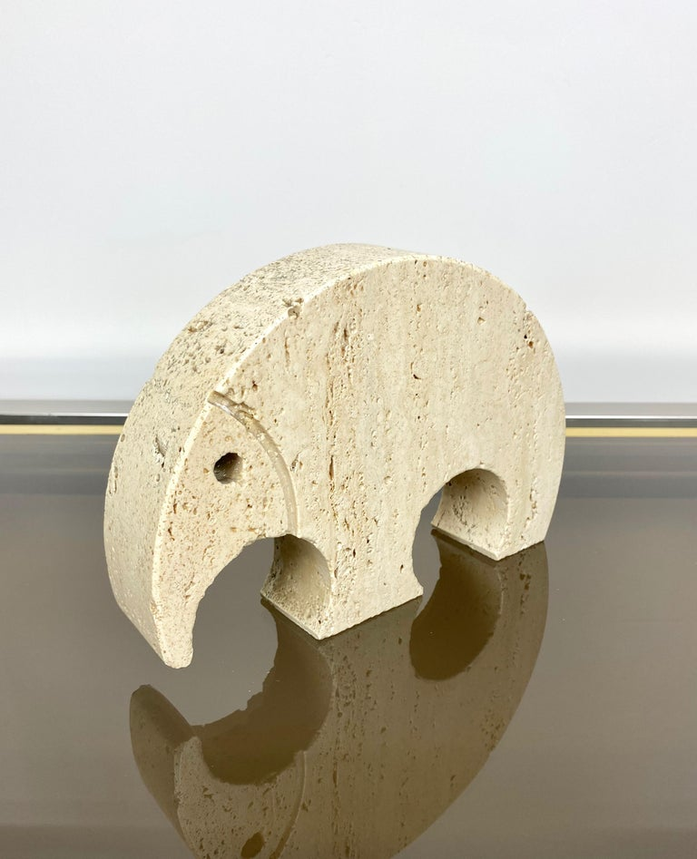 Mid-Century Modern Anteater Travertine Paperweight Sculpture by Fratelli Mannelli, Italy, 1970s For Sale
