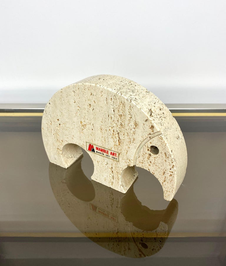 Italian Anteater Travertine Paperweight Sculpture by Fratelli Mannelli, Italy, 1970s For Sale