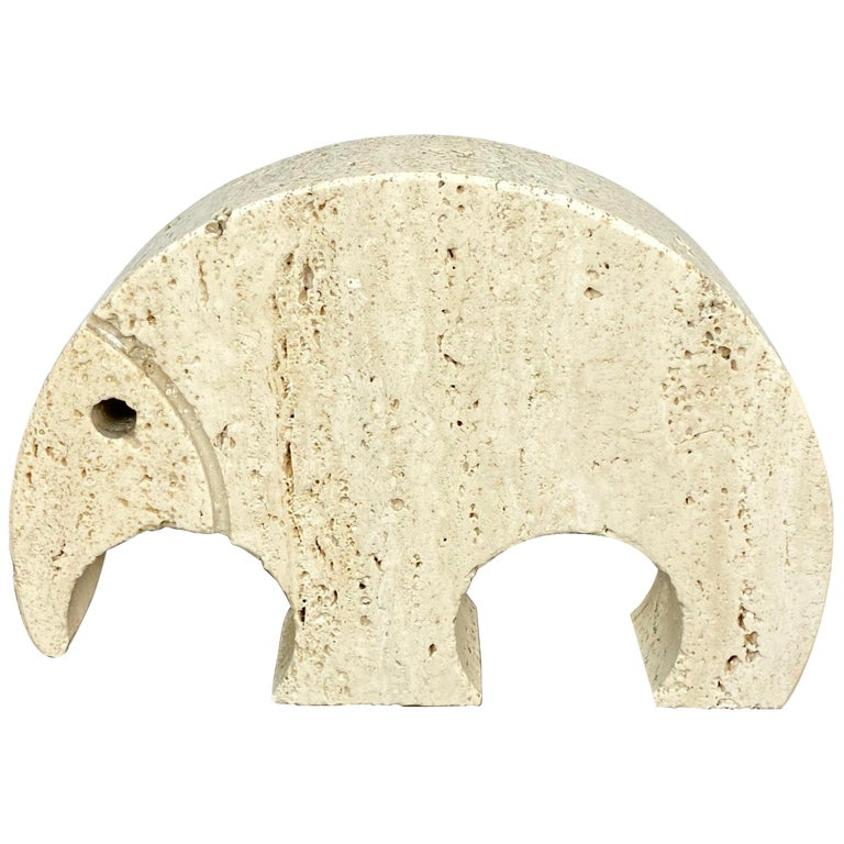 Anteater Travertine Paperweight Sculpture by Fratelli Mannelli, Italy, 1970s For Sale