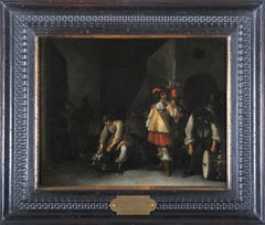 17th century Dutch figurative painting, Interior oil on panel Palamedes workshop