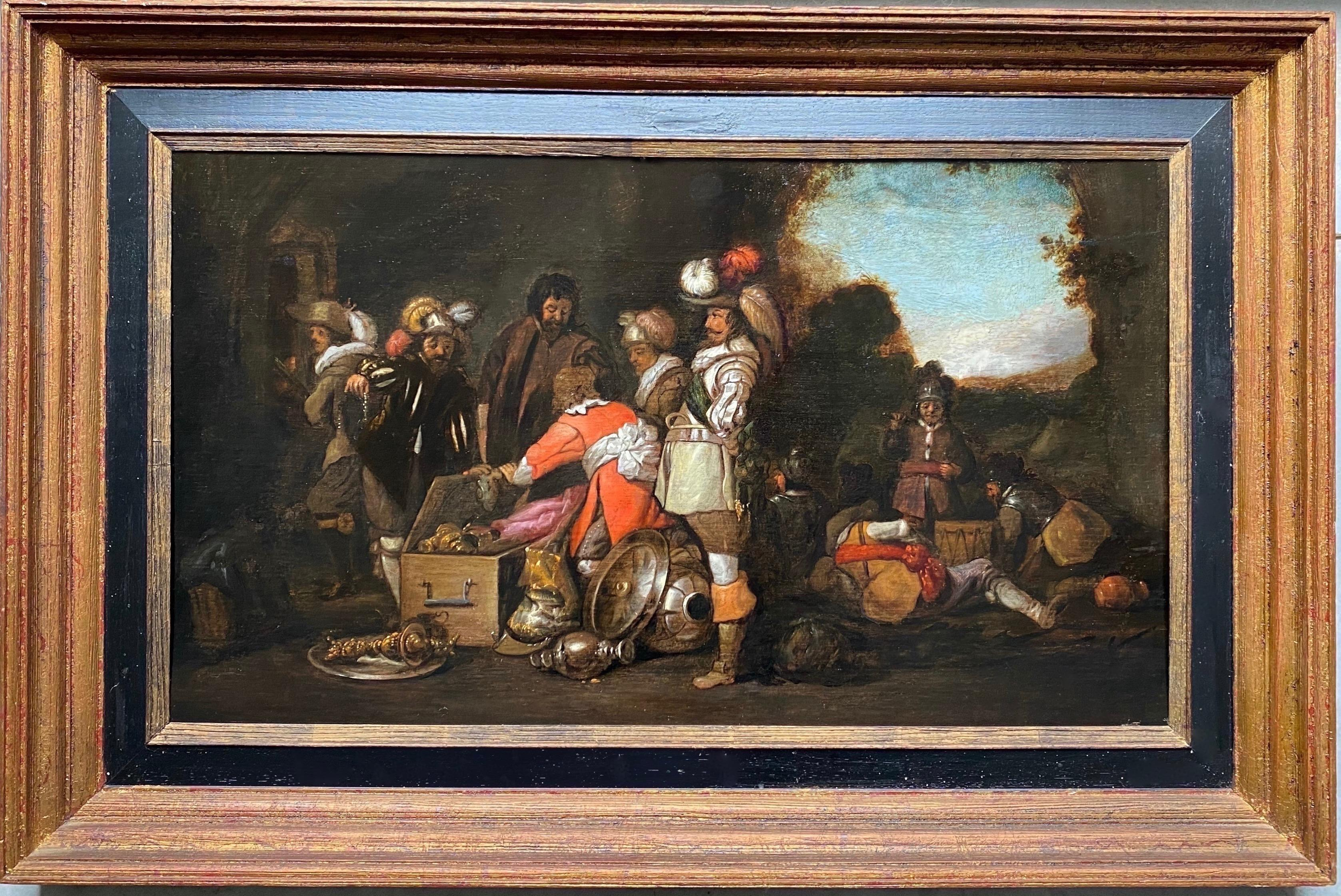 17th century Dutch Old Master painting - A treasure-filled guardroom - genre