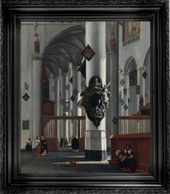 17th century dutch church interior - figurative old master religious interior