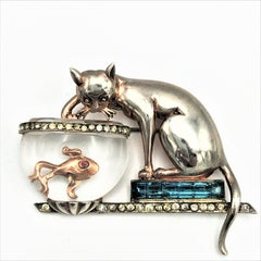 Anthony Aquilino Cat on fishing in Jelly Belly bowl brooch sterling 1946