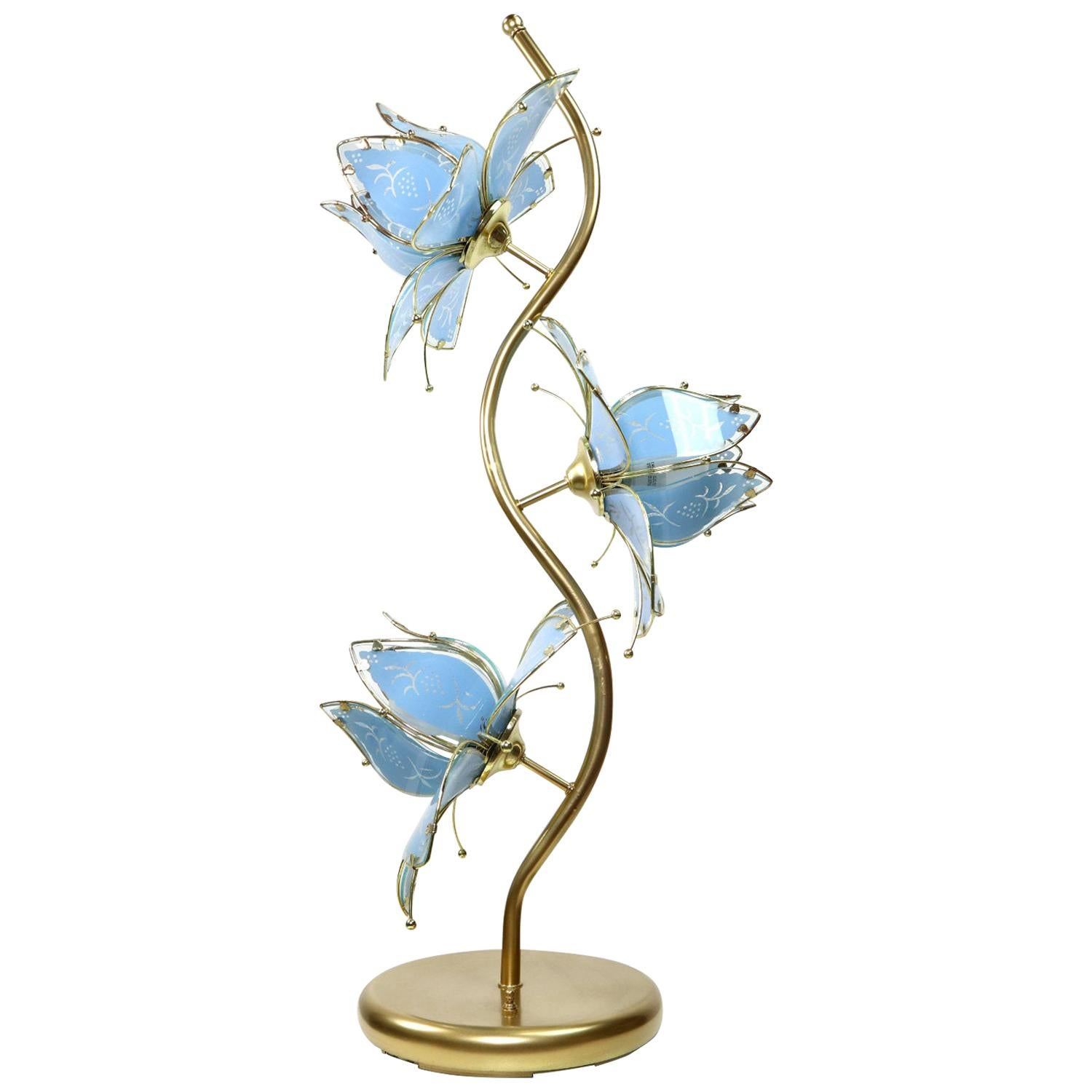 Anthony California Brass Hollywood Regency Etched Glass Floral Lamp