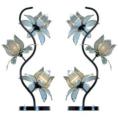 Anthony California Lacquer and Brass Hollywood Regency Etched Glass Floral Lamps