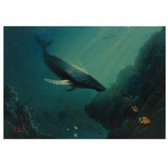 Anthony Casay Signed Marine Life Painting, 1989