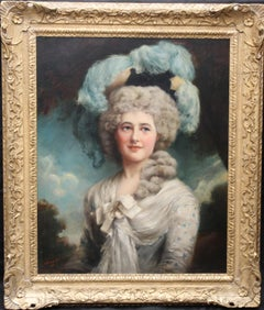 Portrait of a Lady in Plumed Hat -  Edwardian Gainsboroughesque art oil painting