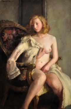 Déshabillée. Female Redhead Nude. Original Oil Painting. WWII painting. 1944