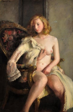 Déshabillée. Female Redhead Nude. Original Oil Painting. WWII Painting. 1944