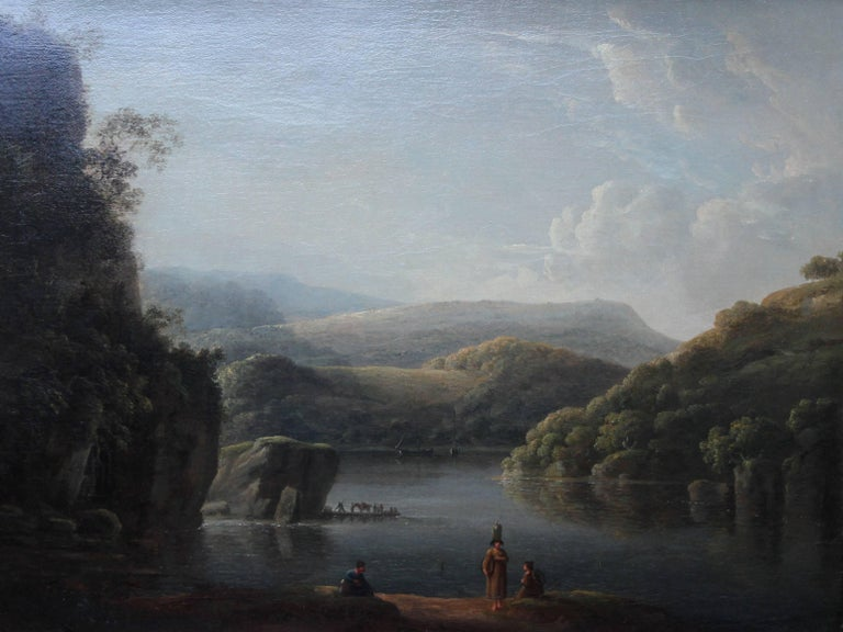Glamorganshire from the Britton Ferry - British 18thC Old Master oil landscape  - Painting by Anthony Devis