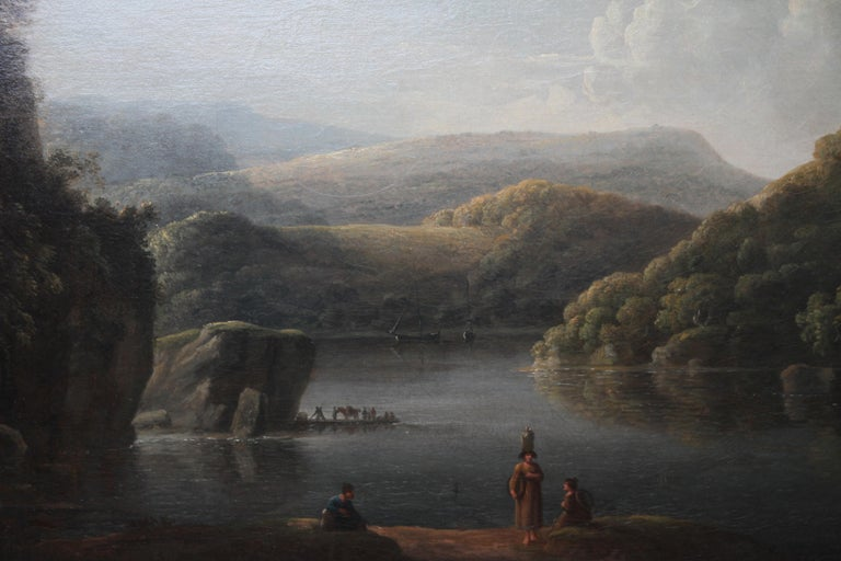 Glamorganshire from the Britton Ferry - British 18thC Old Master oil landscape  - Old Masters Painting by Anthony Devis