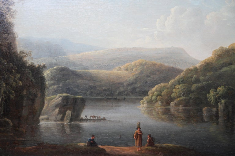 Glamorganshire from the Britton Ferry - British 18thC Old Master oil landscape  For Sale 1