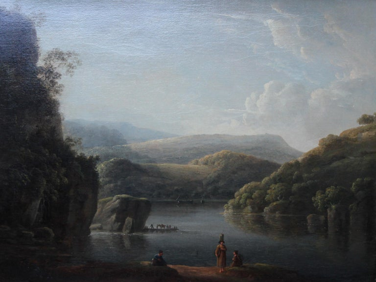 Glamorganshire from the Britton Ferry - British 18thC Old Master oil landscape  For Sale 2