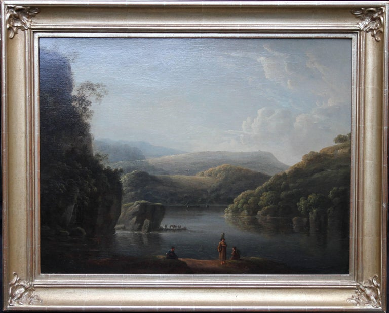 Anthony Devis Landscape Painting - Glamorganshire from the Britton Ferry - British 18thC Old Master oil landscape