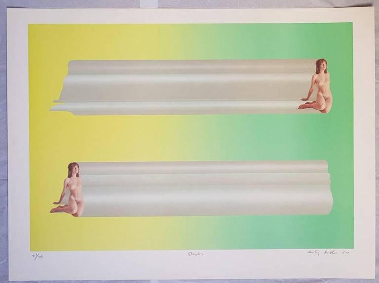 Treasure Tubes are six original lithographs realized by Antony Donaldson in 1969. The prints are hand signed and dated on the lower right margin and numbered on the lower left margin. This is an edition of 75 prints.  Antony Donaldson (b. 1939) is