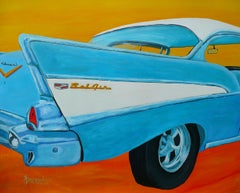 50s Fins and Curves, Painting, Acrylic on Paper