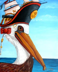 Captain Pelican, Painting, Acrylic on Canvas