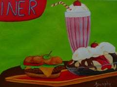 Cheeseburger Sundae and a Shake, Painting, Acrylic on Paper