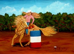 Cowgirl Barrel Racer, Painting, Acrylic on Canvas