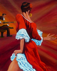 Dancing in Red, Painting, Acrylic on Paper