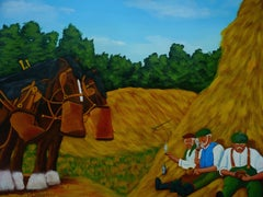 Farm Workers at Lunch, Painting, Acrylic on Paper