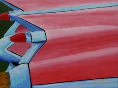 Flaming Fifties Fins, Painting, Acrylic on Canvas