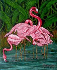 Flamingo, Painting, Acrylic on Canvas
