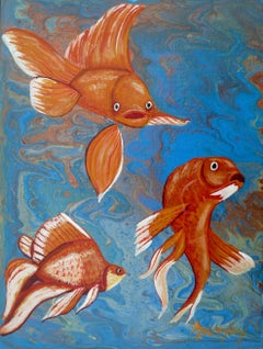 Goldfish, Painting, Acrylic on MDF Panel