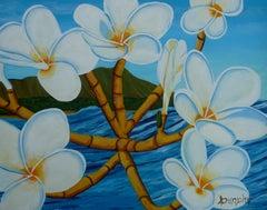 Hawaiian Plumeria, Painting, Acrylic on Paper