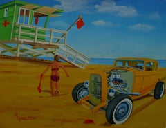 Little Deuce Coupe on the Beach, Painting, Acrylic on Paper