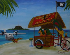 Parrot Pete's Portable Pirate Party, Painting, Acrylic on Paper