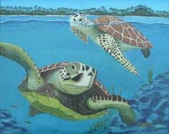 Sea Turtles, Painting, Acrylic on Canvas