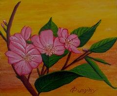 Sunset Sakura, Painting, Acrylic on Wood Panel