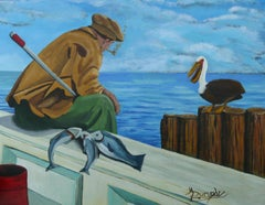 The Fishing Buddies, Painting, Acrylic on Canvas