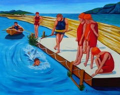 The Swimming Lesson, Painting, Acrylic on Paper