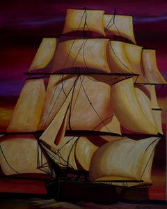 Under Full Sail, Painting, Acrylic on Paper