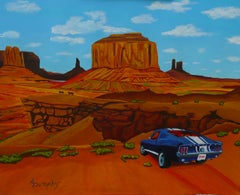 Wild Mustang Country, Painting, Acrylic on Paper