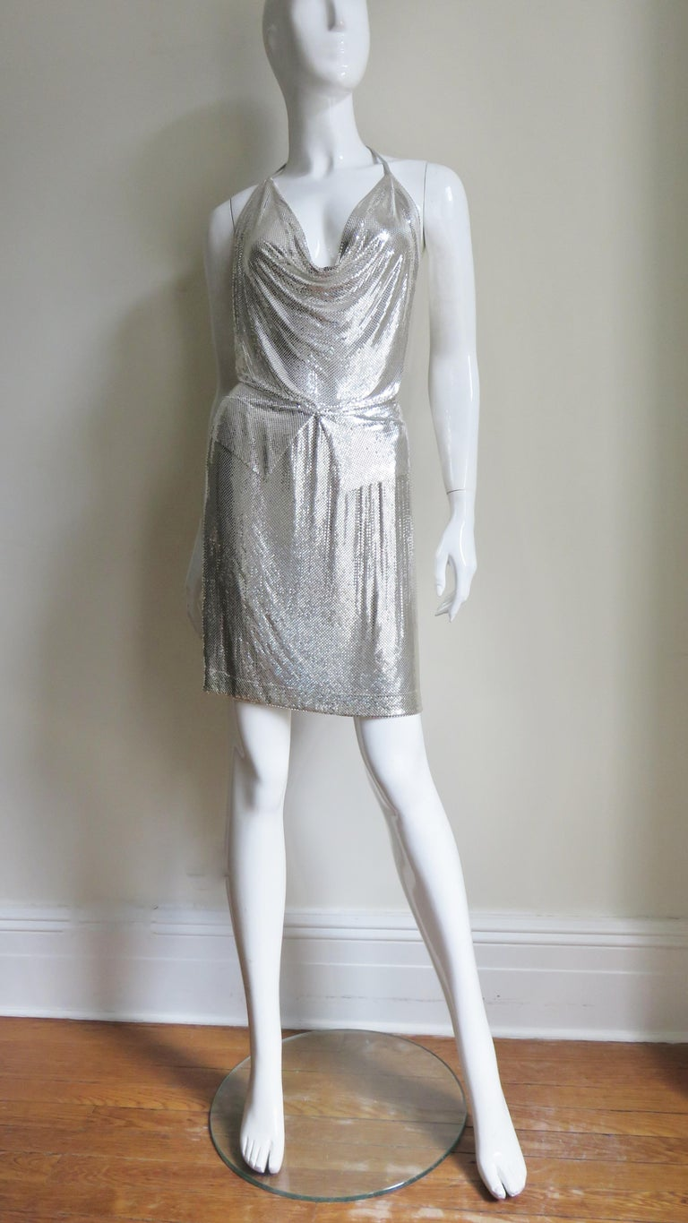 Anthony Ferrara Silver Metal Mesh Halter Top and Skirt Set 1970s For Sale 6