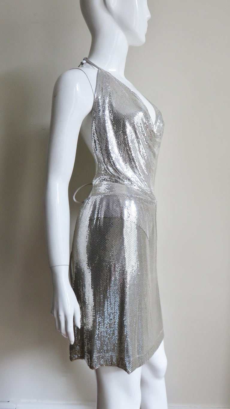 Anthony Ferrara Silver Metal Mesh Halter Top and Skirt Set 1970s For Sale 7