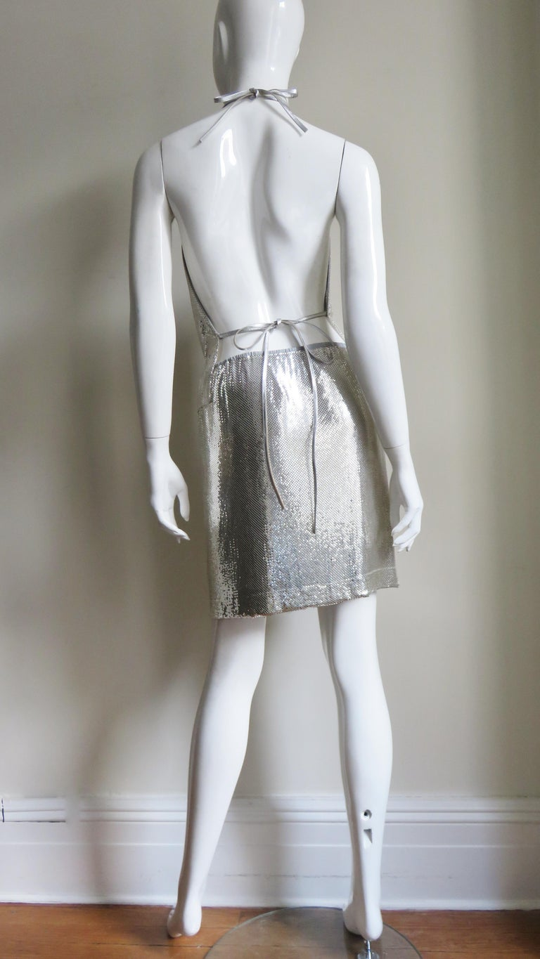 Anthony Ferrara Silver Metal Mesh Halter Top and Skirt Set 1970s For Sale 8