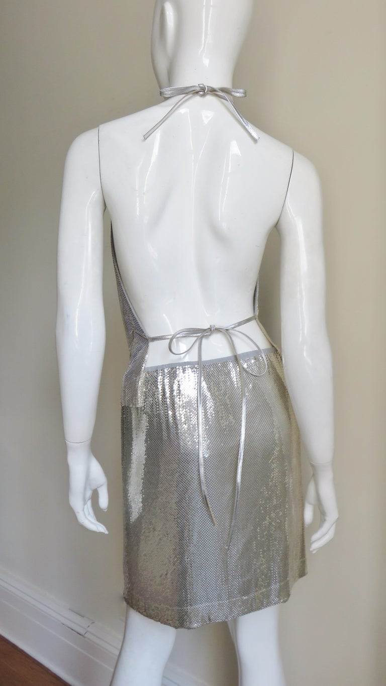 Anthony Ferrara Silver Metal Mesh Halter Top and Skirt Set 1970s For Sale 9
