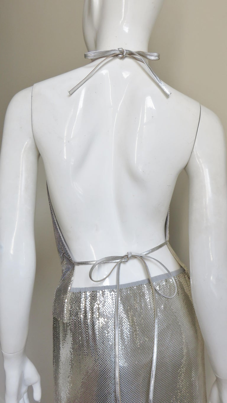 Anthony Ferrara Silver Metal Mesh Halter Top and Skirt Set 1970s For Sale 10
