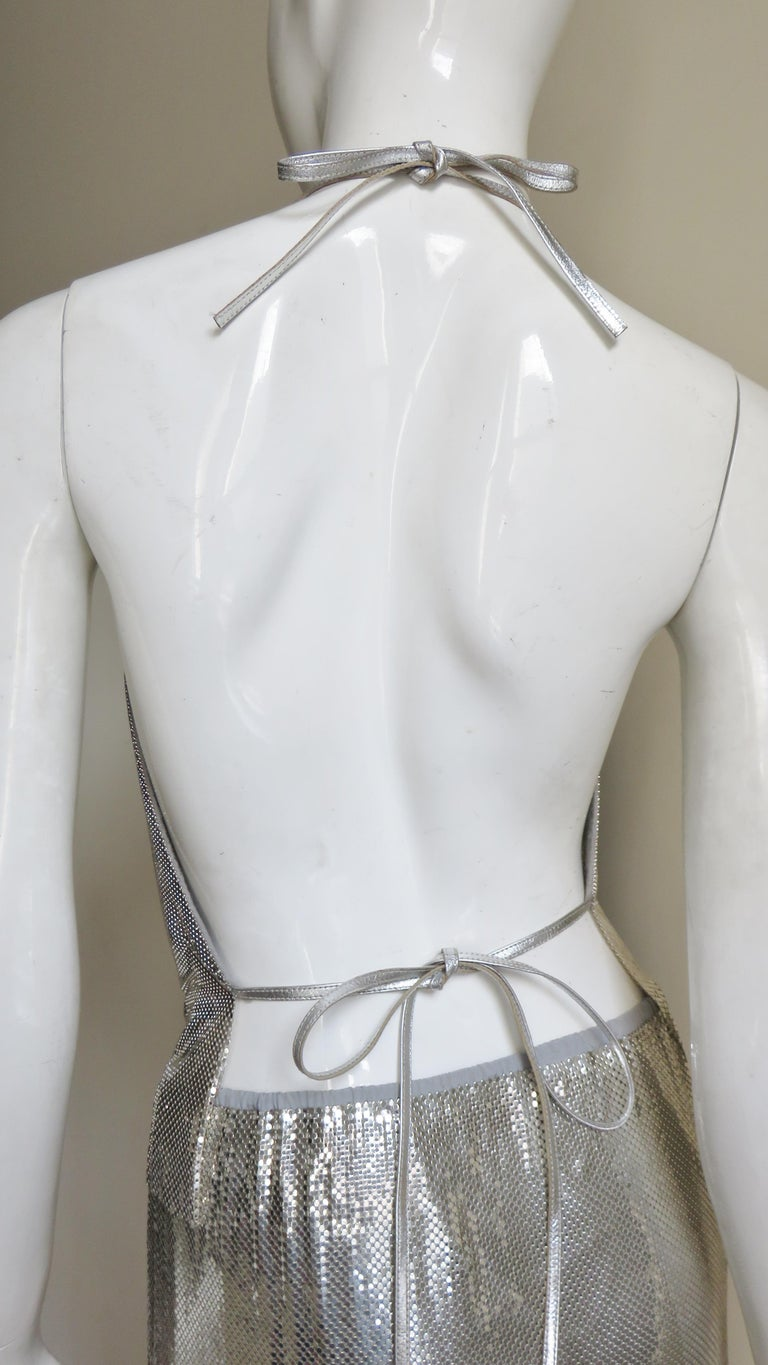 Anthony Ferrara Silver Metal Mesh Halter Top and Skirt Set 1970s For Sale 11