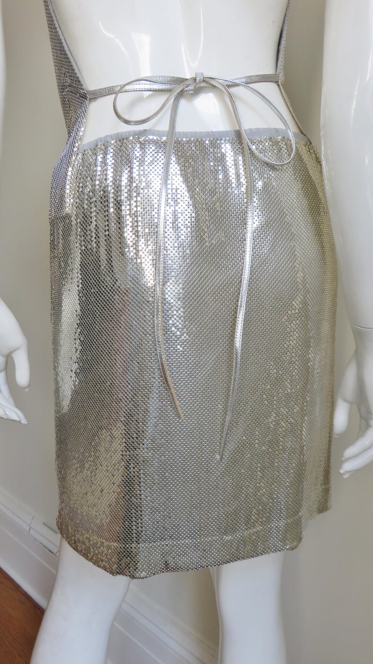 Anthony Ferrara Silver Metal Mesh Halter Top and Skirt Set 1970s For Sale 12