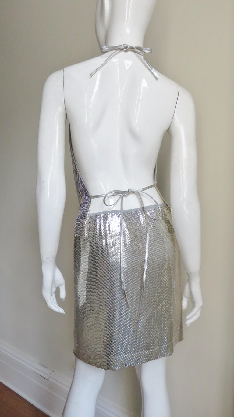Anthony Ferrara Silver Metal Mesh Halter Top and Skirt Set 1970s For Sale 13